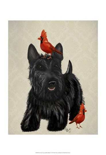 Scottie Dog and Red Birds by Fab Funky art print