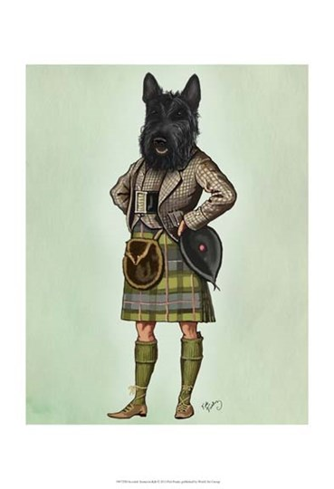 Scottish Terrier in Kilt by Fab Funky art print