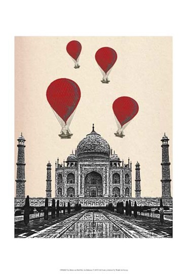 Taj Mahal and Red Hot Air Balloons by Fab Funky art print