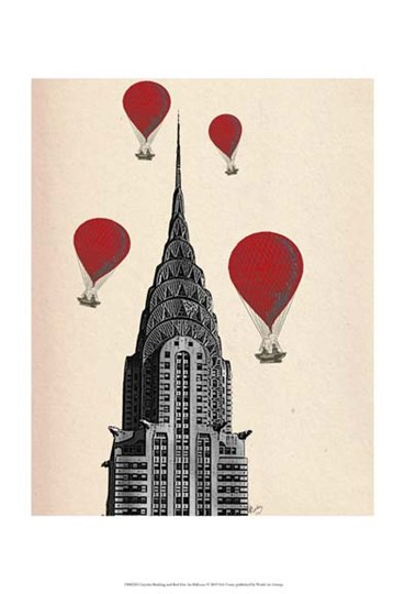 Chrysler Building and Red Hot Air Balloons by Fab Funky art print