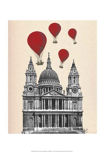 St Pauls Cathedral and Red Hot Air Balloons by Fab Funky art print