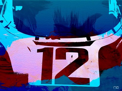 Racing Number 12 Watercolor by Naxart art print