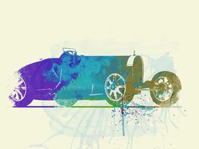 Bugatti Type 35 R Watercolor by Naxart art print