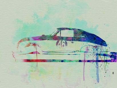 Porsche 356 Watercolor by Naxart art print