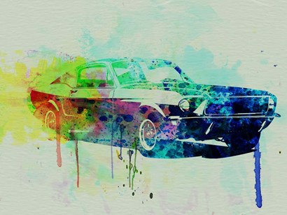 Ford Mustang Watercolor 2 by Naxart art print