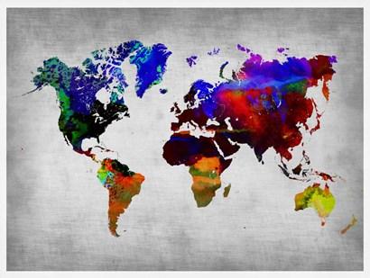 World Watercolor Map 12 by Naxart art print