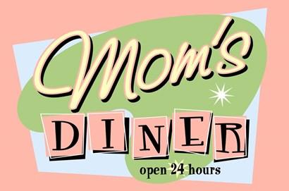 Moms Diner Retro Pink by RetroPlanet art print