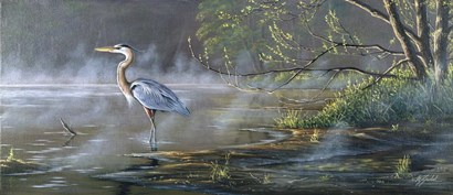 Quiet Cove - Great Blue Heron by Wilhelm J. Goebel art print