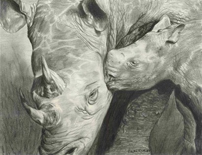 Rhino Love by Carla Kurt art print