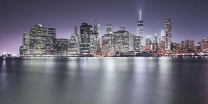 Manhattan Skyline Night by Moises Levy art print
