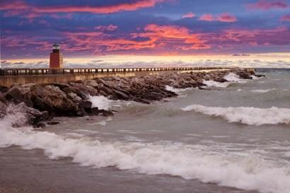 Lighthouse at Sunset, Michigan 09 by Monte Nagler art print