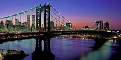 Manhattan Bridge and Skyline (detail) by Richard Berenholtz art print