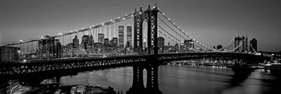 Manhattan Bridge and Skyline BW by Richard Berenholtz art print
