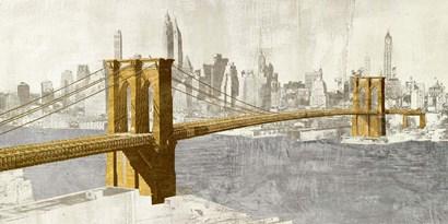 Gilded Brooklyn Bridge by Joannoo art print