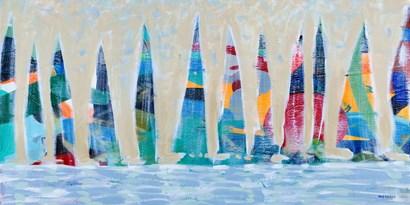 Dozen Colorful Boats Panel by Dan Meneely art print