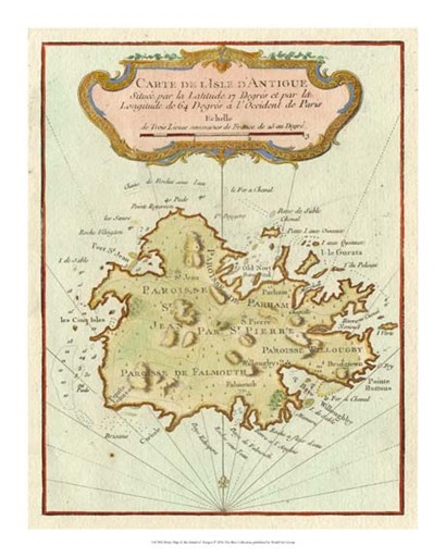 Petite Map of Island of Antigua art print
