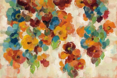 Spice and Turquoise Florals by Silvia Vassileva art print