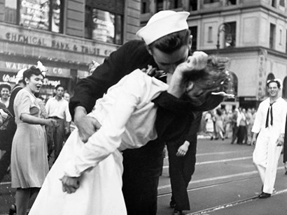 Kissing the War Goodbye in Times Square, 1945 (detail) by Lt. Victor Jorgensen art print