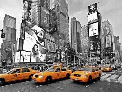 Taxis in Times Square, NYC by Vadim Ratsenskiy art print