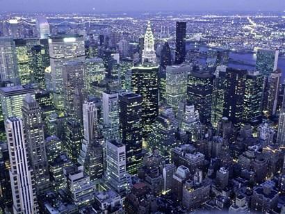 Manhattan Skyline at dusk, NYC by Michael Setboun art print