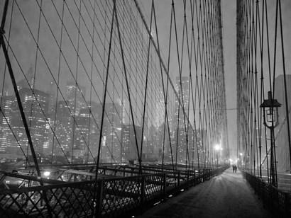 On Brooklyn Bridge by Night, NYC by Michael Setboun art print
