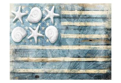 Water Blue American Flag by Jace Grey art print