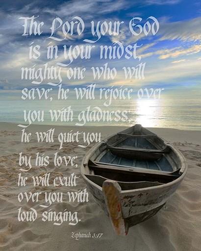 Zephaniah 3:17 The Lord Your God (Beach) by Inspire Me art print