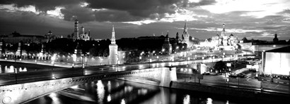 City lit up at night, Red Square, Kremlin, Moscow, Russia BW by Panoramic Images art print