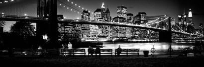 Suspension bridge lit up at dusk, Brooklyn Bridge, Manhattan, NY by Panoramic Images art print