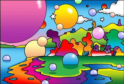Bubbles Landscape by Howie Green art print