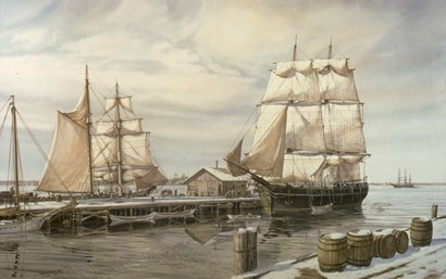 Drying Sails - New Bedford by Jack Wemp art print