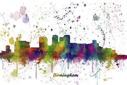 Birmingham Alabama Skyline Multi Colored 1 by Marlene Watson art print