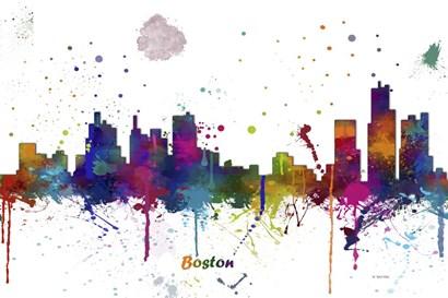 Boston Mass Skyline Multi Colored 1 by Marlene Watson art print