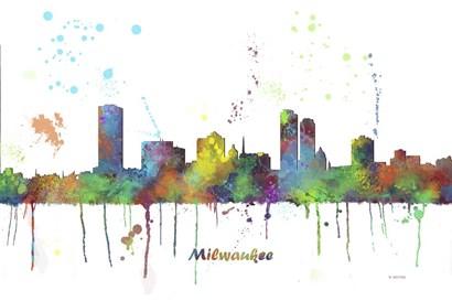 Milwaukee Wisconsin Skyline Multi Colored 1 by Marlene Watson art print