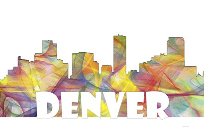 Denver Colorado Skyline Multi Colored 2 by Marlene Watson art print