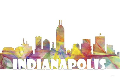 Indianapolis Indiana Skyline Multi Colored 2 by Marlene Watson art print