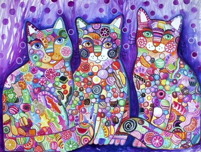 Candy Cats by Oxana Zaika art print