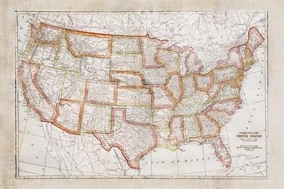 Map of USA by Ramona Murdock art print