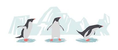 Minimalist Penguin Trio, Boys by Color Me Happy art print