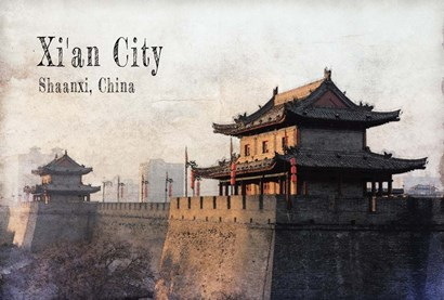 Vintage Xi'an City, China, Asia by Take Me Away art print