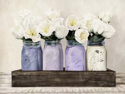 Tulips in Mason Jars by Jenny Thomlinson art print