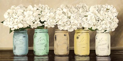 Hydrangeas in Mason Jars by Jenny Thomlinson art print