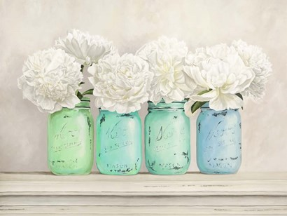 Peonies in Mason Jars by Jenny Thomlinson art print