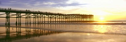 Pier at Sunset, Crystal Pier, Pacific Beach, San Diego, California by Panoramic Images art print