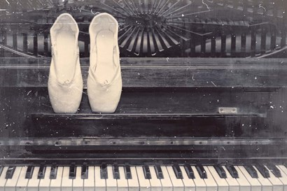 Ballet Shoes And Piano Old Photo Style Dust and Scratches by Color Me Happy art print