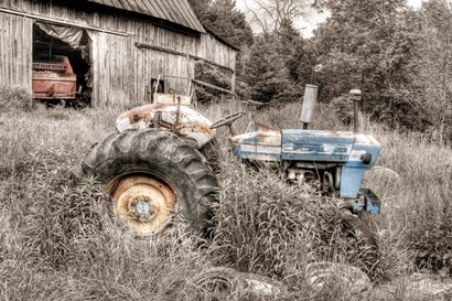Blue Tractor BW by Bob Rouse art print