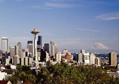 Seattle Cityscape, Seattle, Washington 02 - Color by Monte Nagler art print