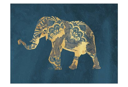 Navy Gold Elephant by OnRei art print