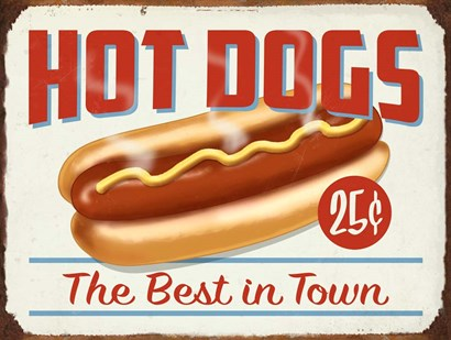 Hot Dogs Best In Town by RetroPlanet art print