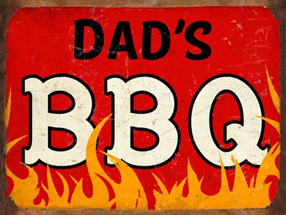 BBQ Dads by RetroPlanet art print